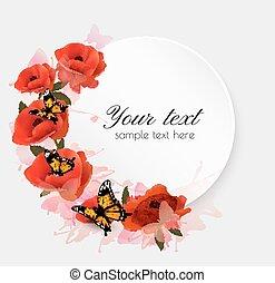 flowers., 休日, 背景, vector., 赤