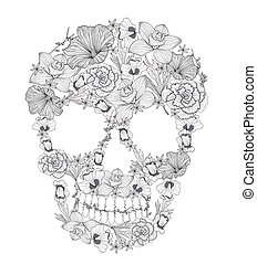flowers., 頭骨