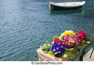 Flowers and a boat on the water