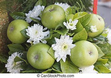 Flowers and apples arrangement