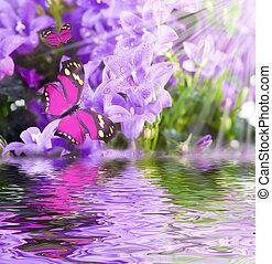 Flowers and batterfly, dark blue hand bells
