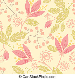 Flowers and berries seamless pattern background