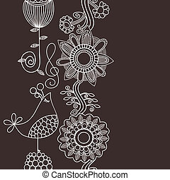 Flowers and bird singing vertical seamless pattern, border decoration