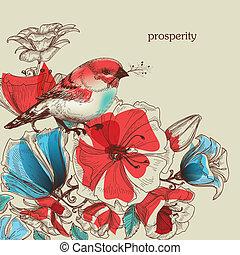 Flowers and bird vector illustration, greeting card, prosperity symbol