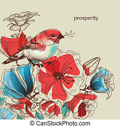 Flowers and bird vector illustration, greeting card,...