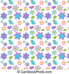 Pattern with flowers and birds