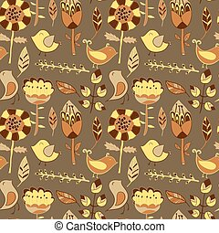 flowers and birds seamless texture pattern