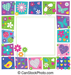 illustration of butterflies hearts flowers ladybugs bee and a bird on colorful square shape frame and white background