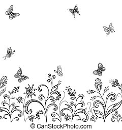 Flowers and butterflies, contours - Abstract floral...