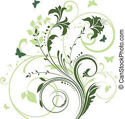 flowers and butterflies - Decorative floral design with...