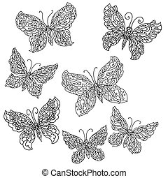 flowers and butterflies - Set of Uncolored ornat butterfly...