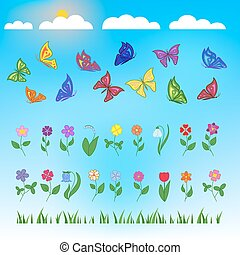 flowers and butterflies flat design