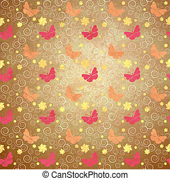 flowers and butterflies grunge style spring background vintage paper