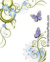 flowers and butterflies - illustration of an elegant floral...