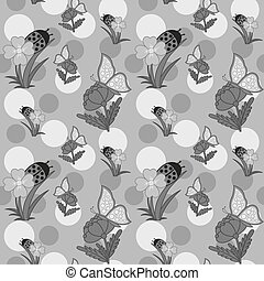 Flowers And Butterfly Grayscale