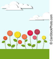 flowers and clouds. vector creative applique