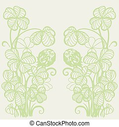 Flowers and clover leaves