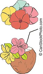 Flowers and coconut drink, colorful vector illustrations