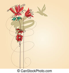 Flowers and colibri vector