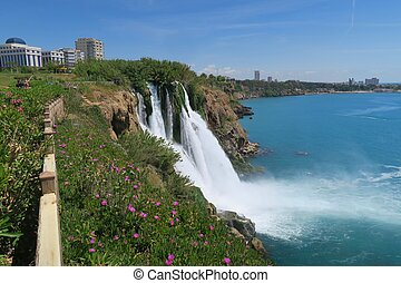 Flowers and Duden Waterfall in Antalya, Turkey - Duden...