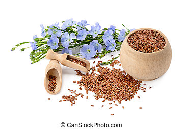 flowers and flaxseeds isolated on a white background