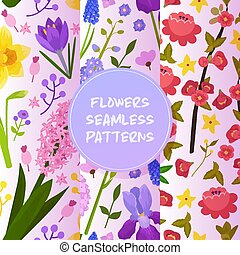Flowers and floral vector seamless pattern watercolor flowered greeting card invitation for wedding birthday flowering hydrangea iris spring backdrop set illustration background