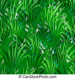 Flowers and Grass, Seamless - Seamless Pattern, Landscape,...