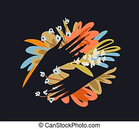 Flowers and hands with fingers design, female hands holding bouquet of flowers composition. Vector retro trendy graphic design.