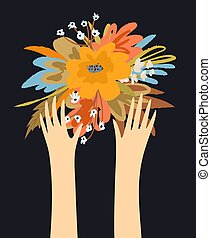 Flowers and hands with fingers design, hands stretching up and bouquet of flowers composition. Vector retro trendy graphic design.