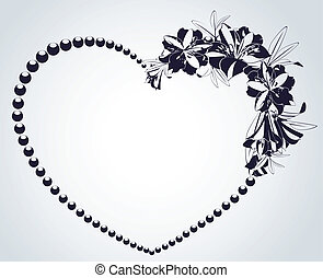 Flowers and heart on background