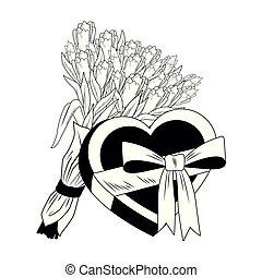 Flowers and heart shape giftbox pop art in black and white
