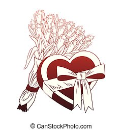 Flowers and heart shape giftbox pop art red lines