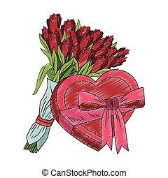 Flowers and heart shape giftbox pop art scribble