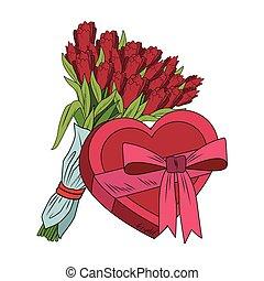 Flowers and heart shape giftbox pop art