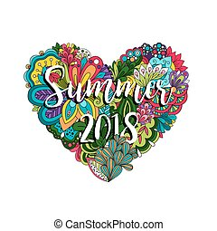 Flowers and heart summer 2018 illutration