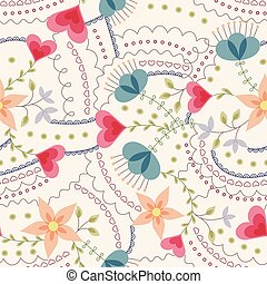 Flowers and hearts pattern vintage