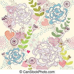 flowers and hearts seamess pattern