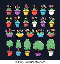 Flowers and houseplants in pots. Set of house plants, trees and flowers in containers. Modern graphic elements. Flat design style. Vector illustration