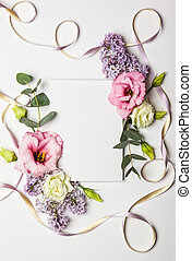Flowers and invitation card - Festive invitation card with...