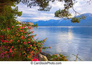 Flowers and Lake Geneva, Switzerland