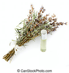 Flowers and lavender oil isolated on white