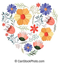 flowers and leafs garden with heart shape