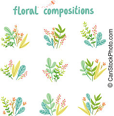 Flowers and leaves compositions vector collection