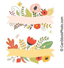 Flowers and leaves, floral elements, ribbon with place for your text.