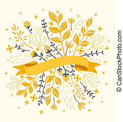 Flowers and leaves with ribbon for text