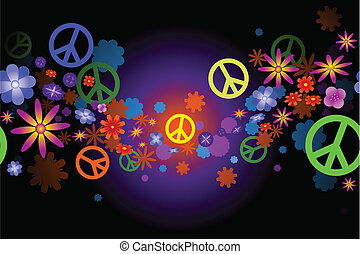 Flowers and peace - Seamless wave of flower blossoms and...