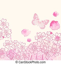 Flowers and pink watercolor blots