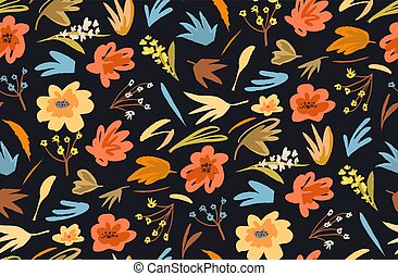 Flowers and plants seamless background vivid old fashioned abstract apparel print design. Vector retro trendy graphic decorative summer or spring florals.