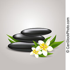 Flowers and spa stones