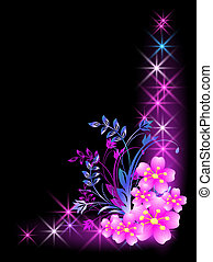 Flowers and stars - Glowing background with flowers and ...